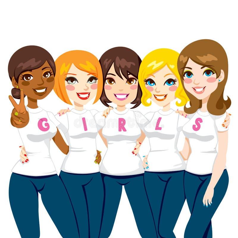Друзья силы девушки иллюстрация вектора