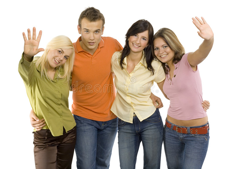друзья собирают подростковое стоковое фото rf