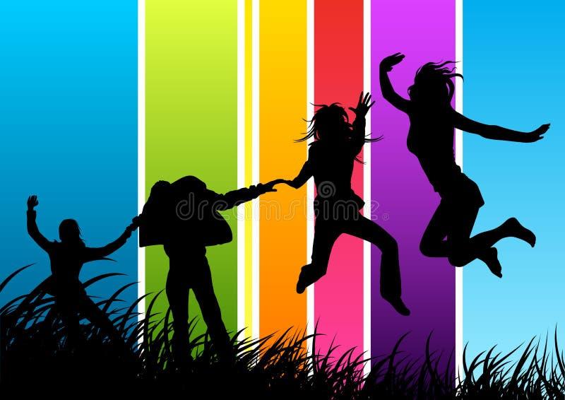 друзья собирают счастливое бесплатная иллюстрация