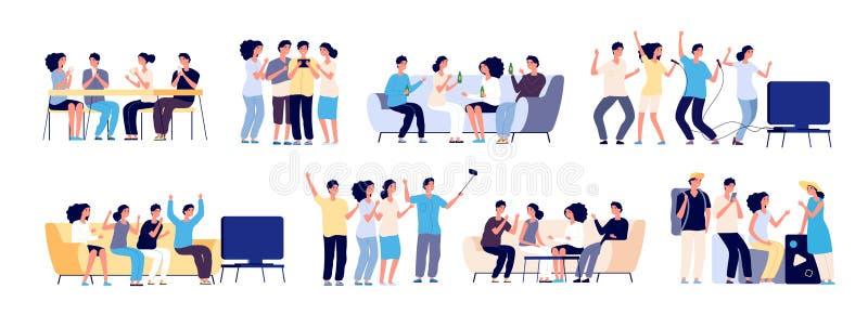 Друзья совместно Приятельство между людьми Усмехаясь лучшие други тратя время ослабляя и говоря r иллюстрация вектора