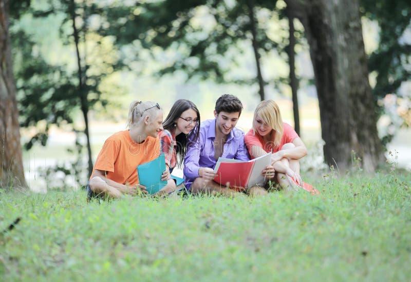 Друзья студентов прочитали книги сидя на лужайке в парке стоковая фотография rf