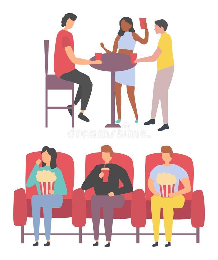 Друзья танцуя и смотря фильм, вектор отдыха бесплатная иллюстрация