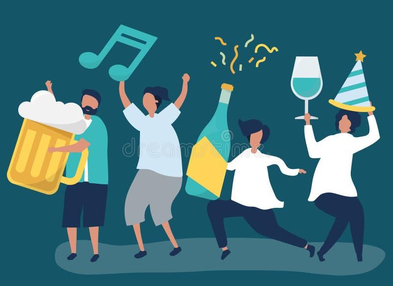 Друзья partying и выпивая различные напитки иллюстрация вектора