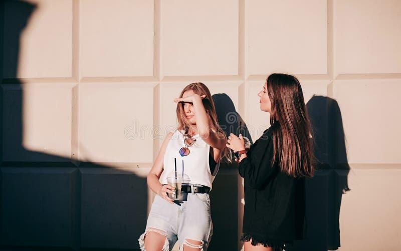 2 друз маленькой девочки стоя совместно стоковые изображения