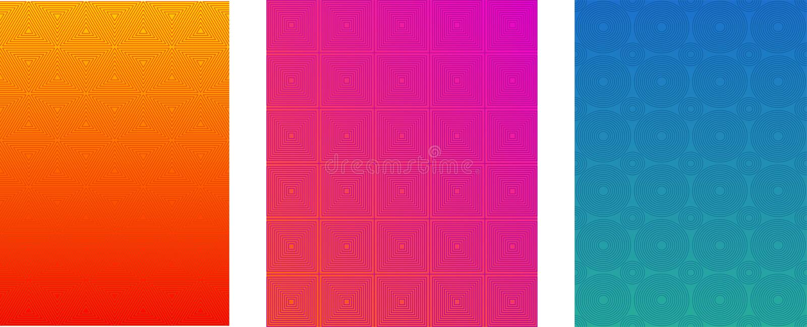 Minimal Cover or Brochure Vector Templates Set. Halftone Gradient Bright Background. Flyer, Leaflet, Banner, Web Design Wallpaper. royalty free illustration