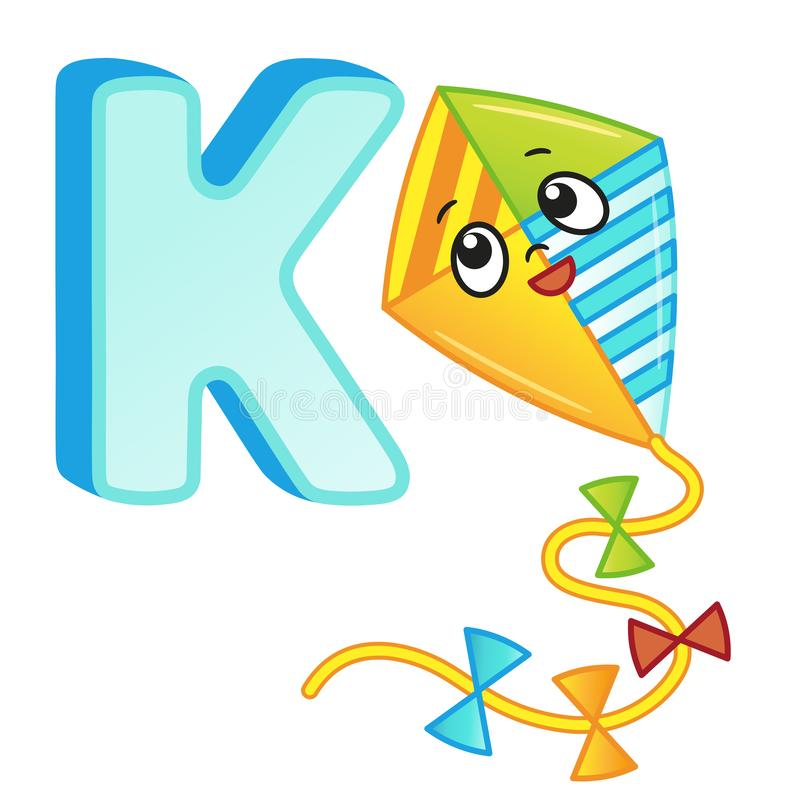Vector bright illustrations alphabet with capital letters of the English and cute cartoon animals and things. Poster for kindergar royalty free illustration