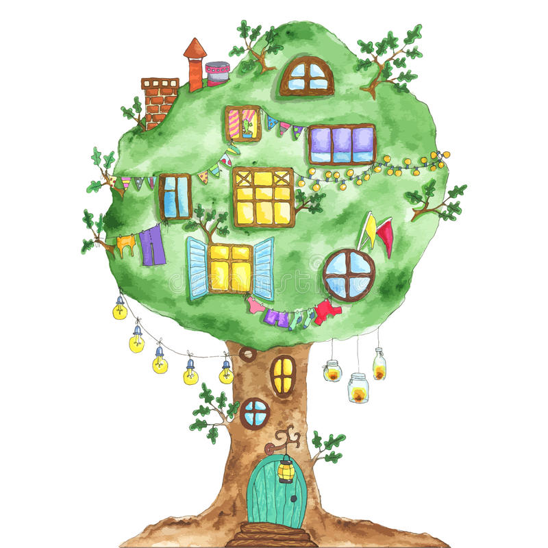 Дуб зеленого цвета сказки акварели с окнами, гирляндами, лампой бесплатная иллюстрация