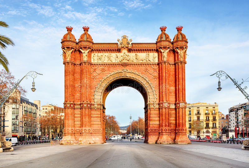 Дуга de Triomph в Барселоне, Каталонии Испании стоковое фото rf