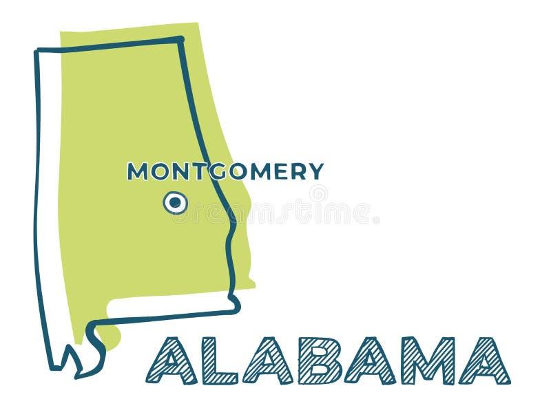 Дудл-карта штата Алабама США бесплатная иллюстрация