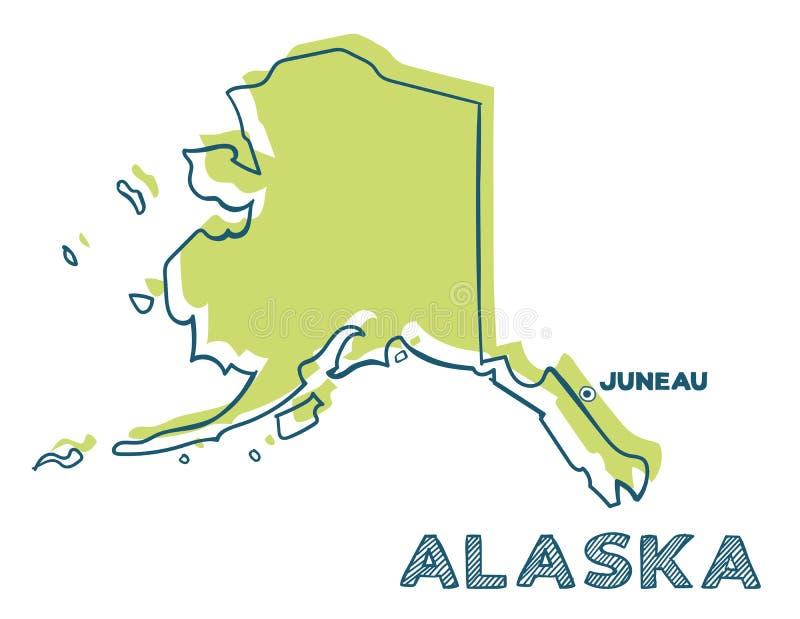 Дудл-карта штата Аляска США иллюстрация вектора