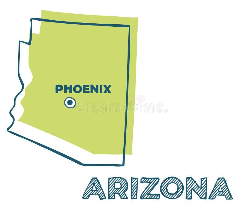 Дудл-карта штата Аризона США иллюстрация штока