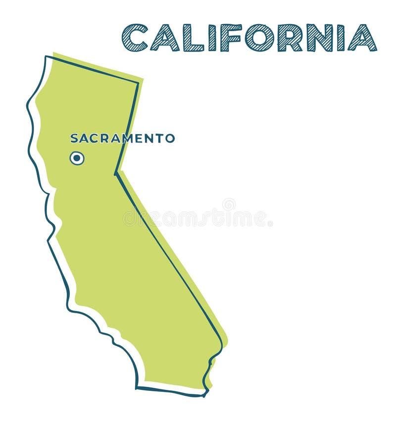 Дудл-карта штата Калифорния иллюстрация штока