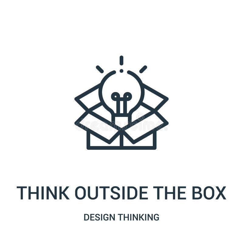 думайте вне вектора значка коробки от собрания дизайна думая Тонкая линия думает вне вектора значка плана коробки бесплатная иллюстрация