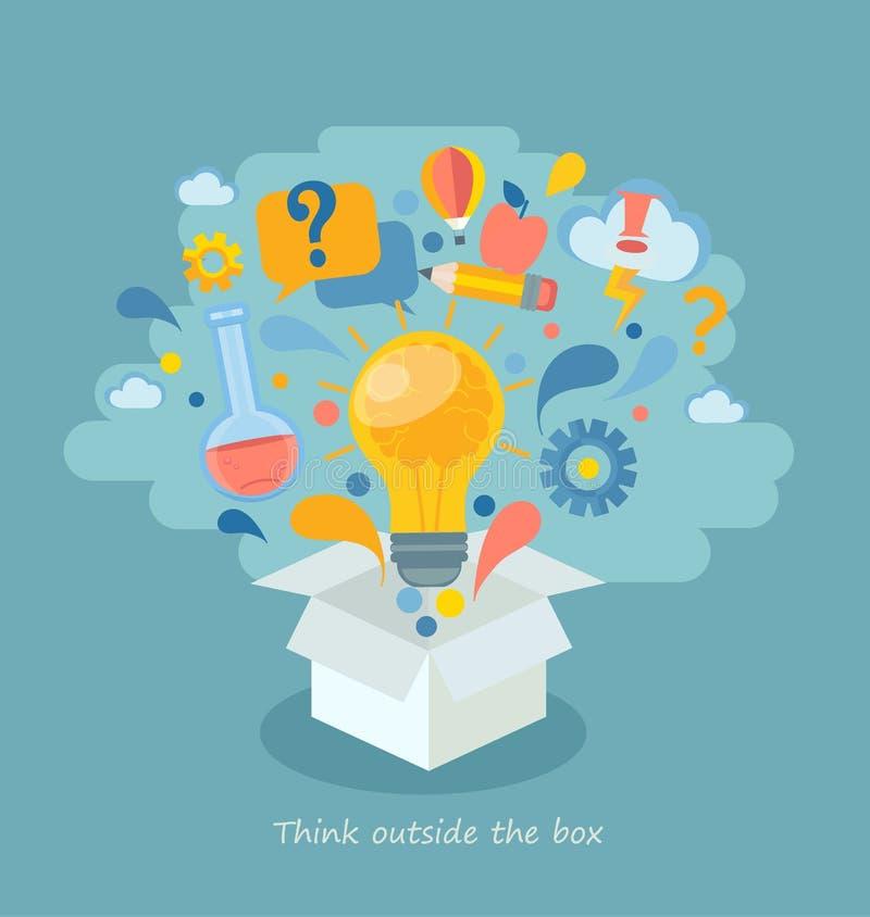 Думайте вне коробки, иллюстрации вектора бесплатная иллюстрация