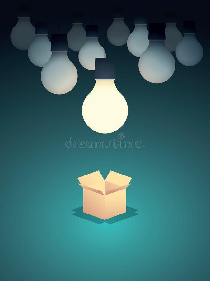 Думайте вне предпосылки вектора концепции дела коробки с лампочкой Творческие способности и творческий конспект решений бесплатная иллюстрация