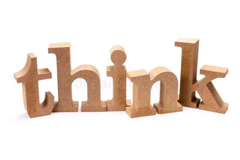 Думайте деревянное слово стоковое фото rf