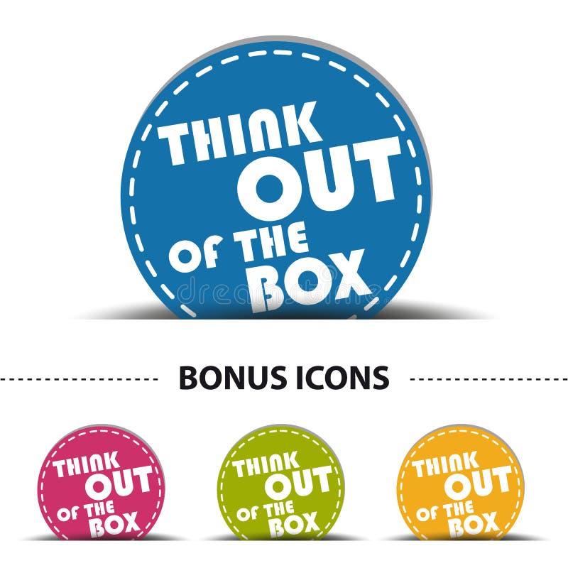 Думайте из кнопки сети коробки - красочной иллюстрации вектора - изолированной на белизне бесплатная иллюстрация