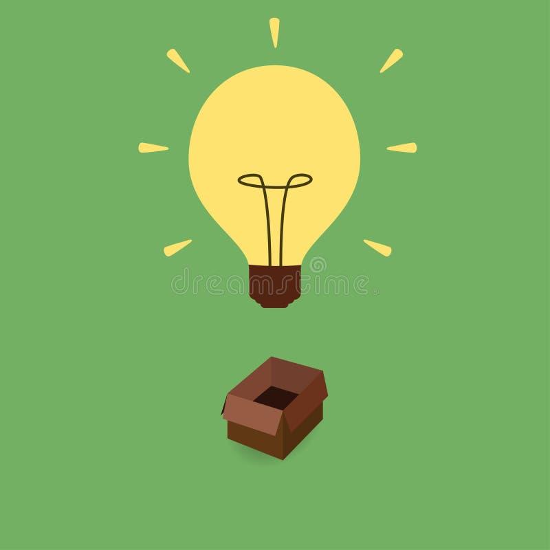 Думайте из концепции коробки иллюстрация штока