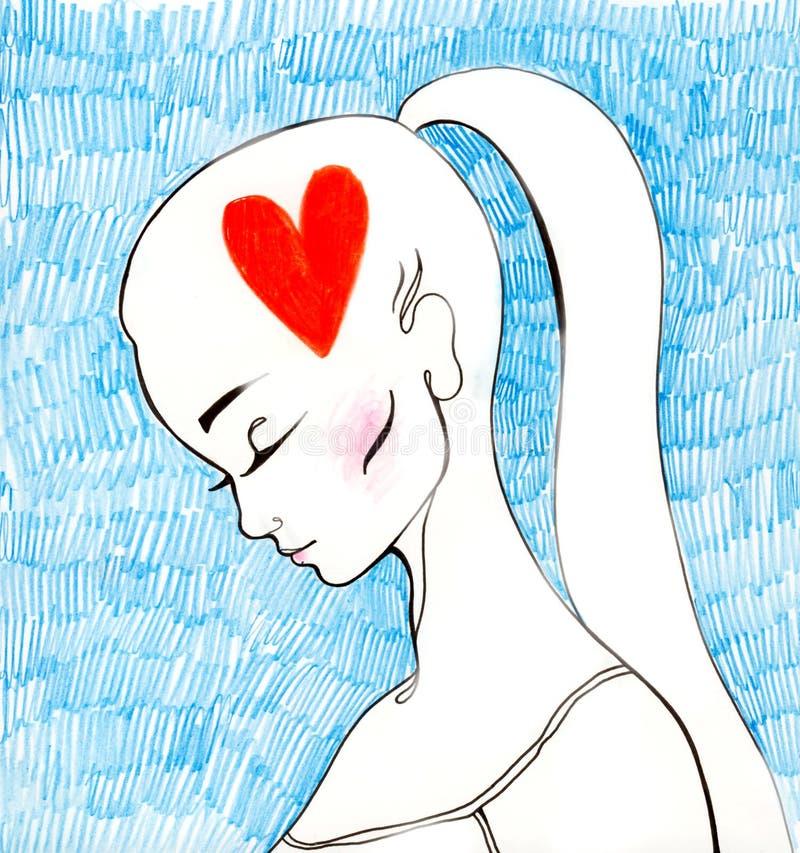 думать влюбленности иллюстрация вектора