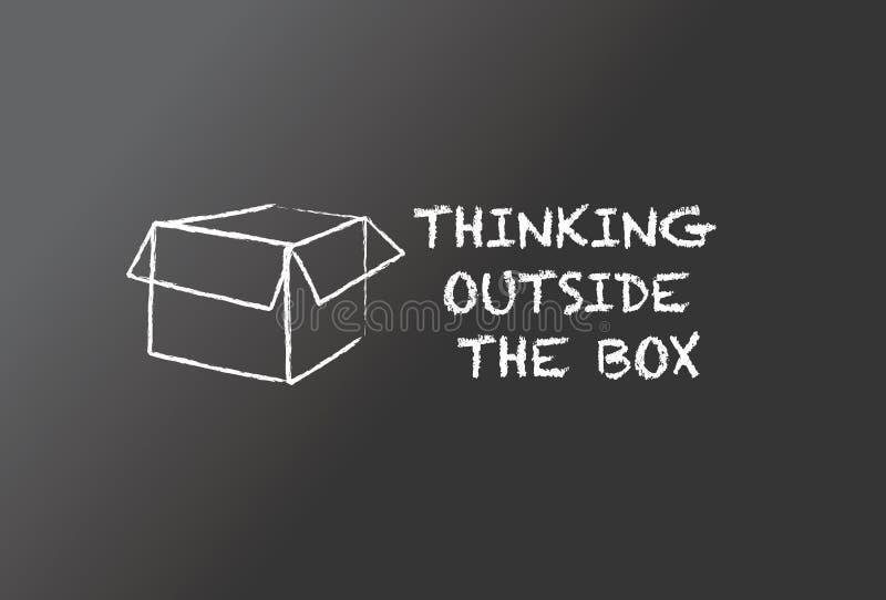 Думать вне коробки иллюстрация вектора