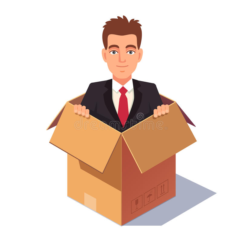 Думать из концепции коробки бесплатная иллюстрация