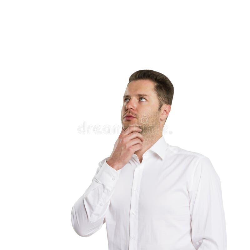 Download Думать молодого человека стоковое изображение. изображение насчитывающей дело - 37927163