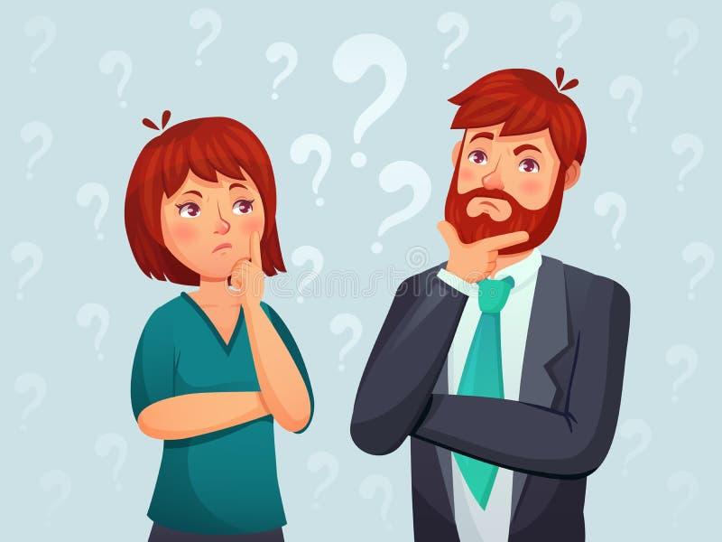 думать пар Внимательный человек и женщина, смущенный побеспокоенный вопрос и люди находя вектор мультфильма ответа иллюстрация штока