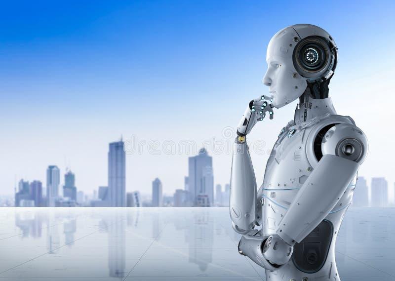 Думать робота гуманоида иллюстрация вектора