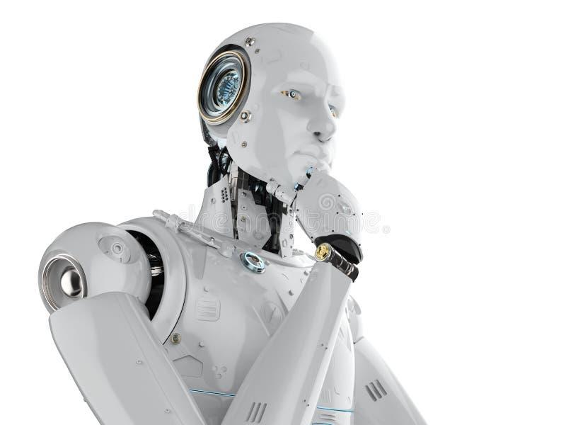 Думать робота гуманоида бесплатная иллюстрация