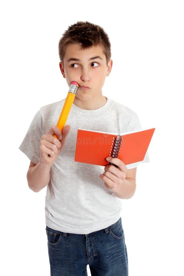думать студента карандаша книги стоковое изображение