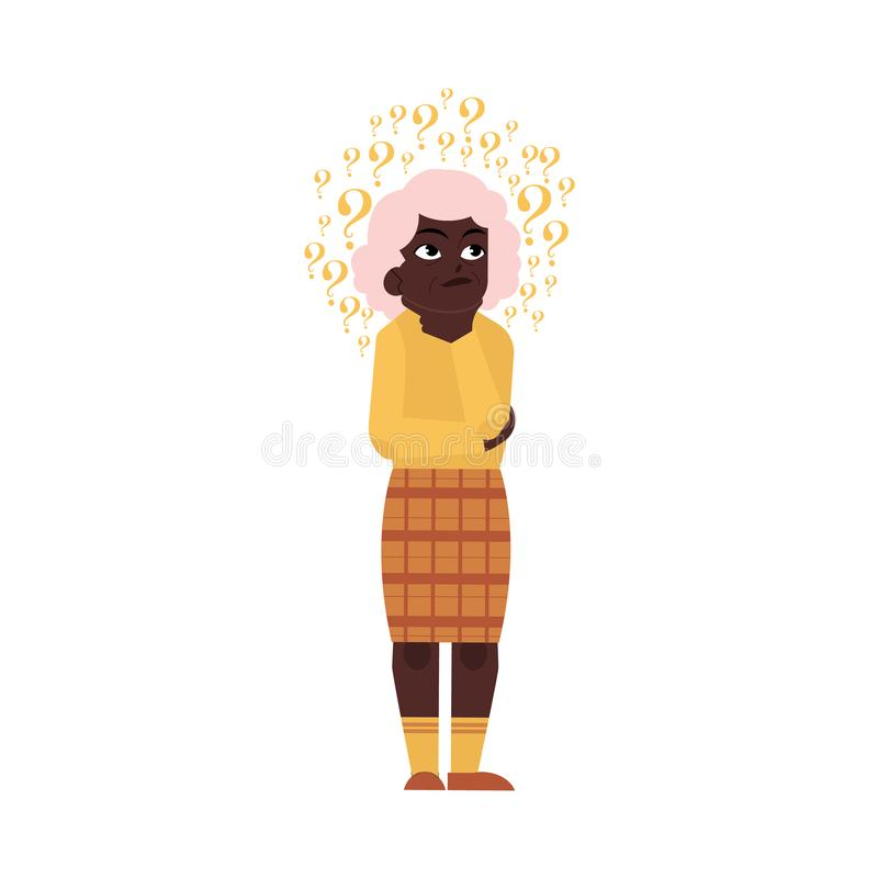 Думать чернокожей женщины вектора плоско старый пожилой бесплатная иллюстрация