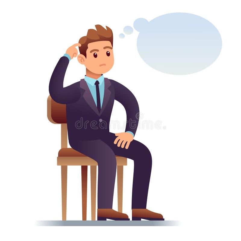 Думая человек Царапать бизнесмена сидя на стуле с пустым думая пузырем Потревоженный человек в векторе сомнения бесплатная иллюстрация