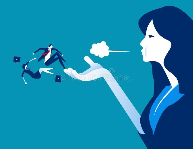 Дунутый прочь Менеджер увольняет работников Иллюстрация вектора дела концепции трудовая бесплатная иллюстрация