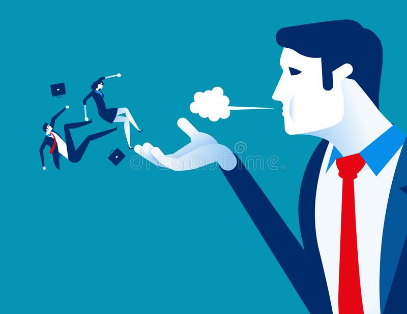 Дунутый прочь Менеджер увольняет работников Иллюстрация вектора дела концепции трудовая иллюстрация вектора