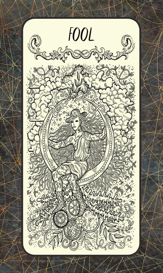 дурачок Главная карточка Tarot Arcana иллюстрация вектора