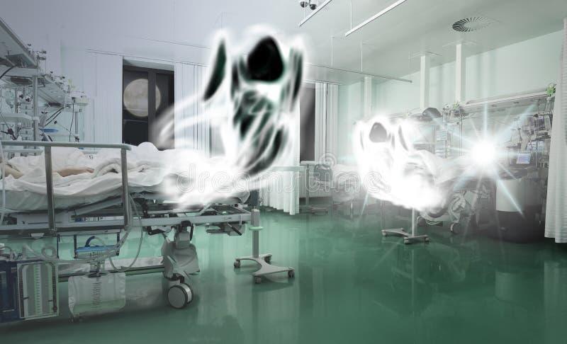 Духи летая над критически больными пациентами стоковое изображение rf