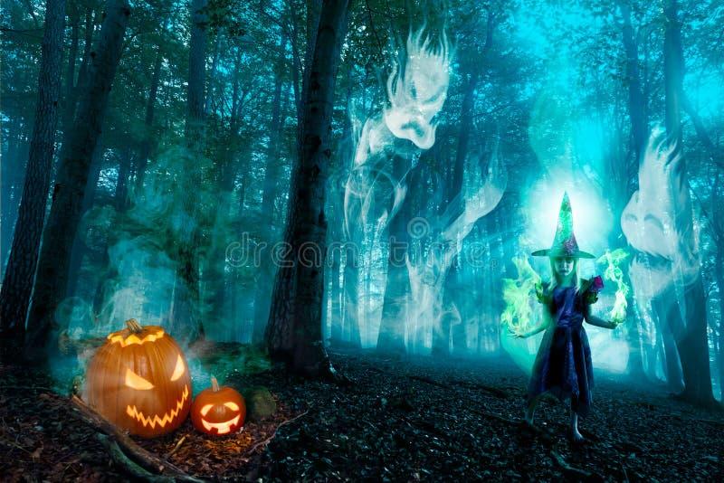 Духи и ведьма леса хеллоуина стоковое фото