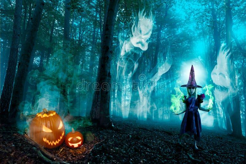 Духи и ведьма леса хеллоуина стоковые фотографии rf