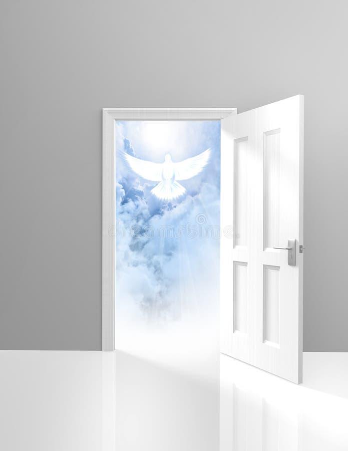 Духовность и концепция вероисповедания открыть двери и небесного белого голубя иллюстрация штока