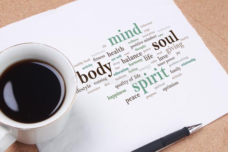 Дух души разума тела, мотивационная концепция цитат слов стоковое изображение rf