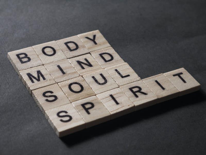 Дух души разума тела, мотивационная концепция цитат слов стоковые изображения rf
