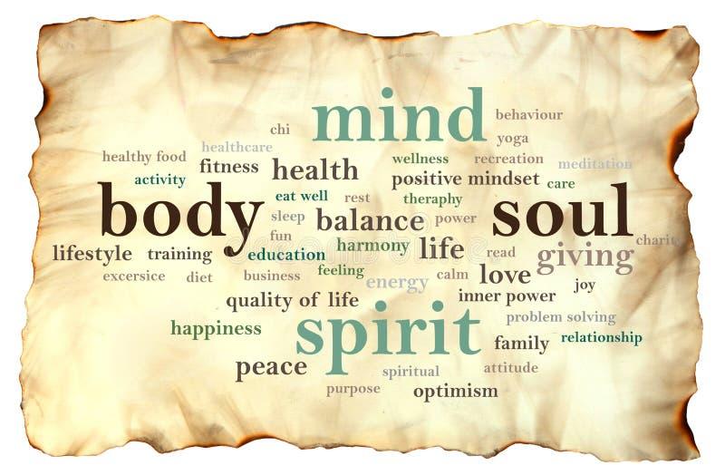 Дух души разума тела, мотивационная концепция цитат слов стоковое изображение