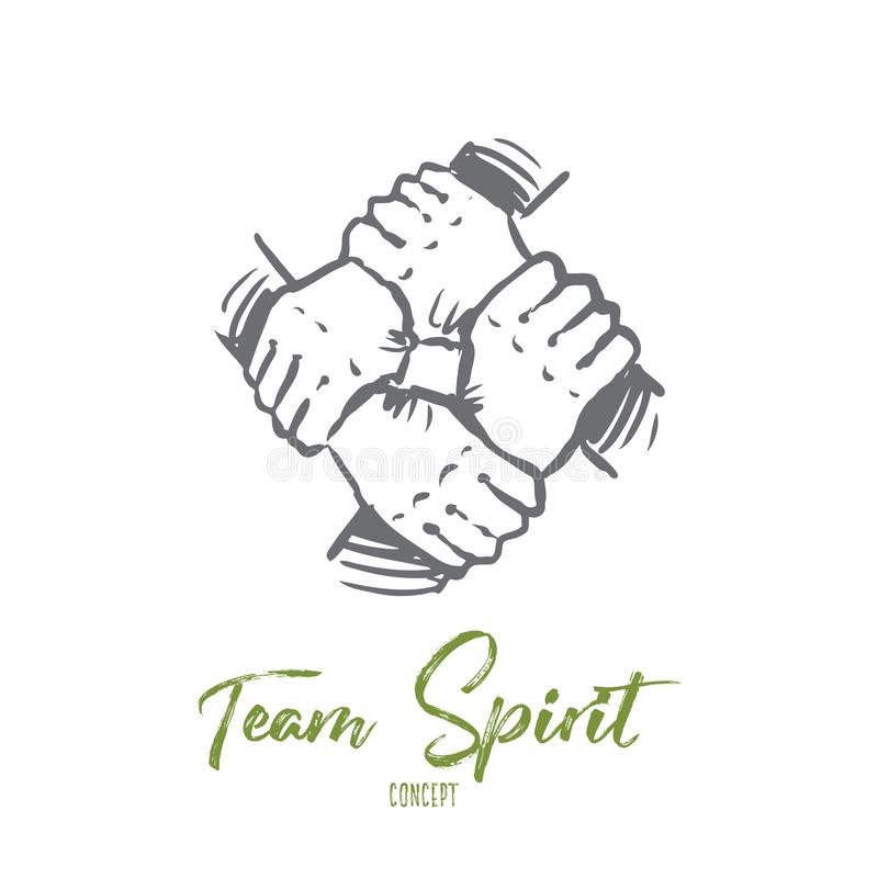 Дух команды, совместно, соединение, концепция партнерства Вектор нарисованный рукой изолированный бесплатная иллюстрация