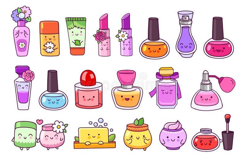 Дух, косметики, маникюр, губная помада, лоск губы, cream опарник, мыло и шампунь иллюстрация штока