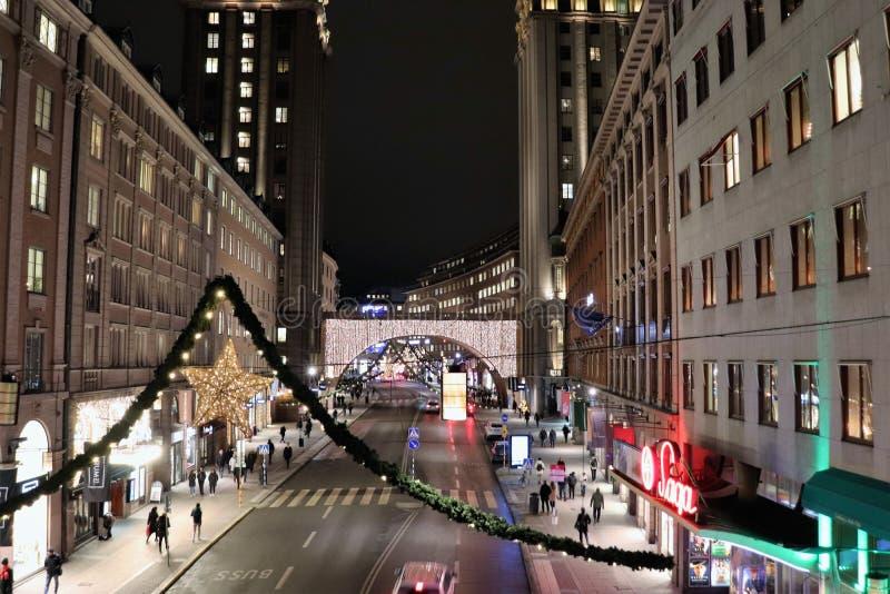Дух рождества на Kungsgatan в Стокгольме стоковое фото