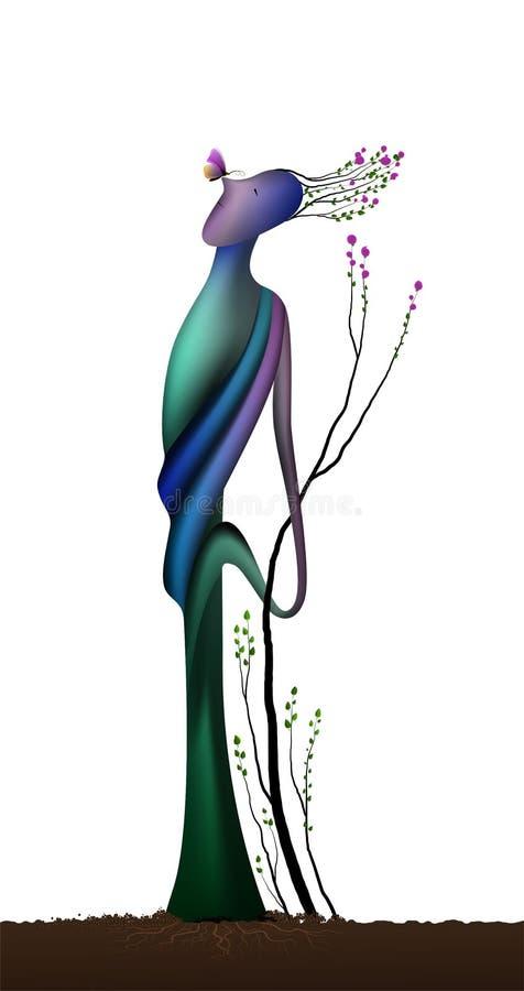 Душа дерева весной приурочивает, дерево формы человека в цветении с бабочкой, концепцией мечты значка весны, сюрреализмом, иллюстрация вектора