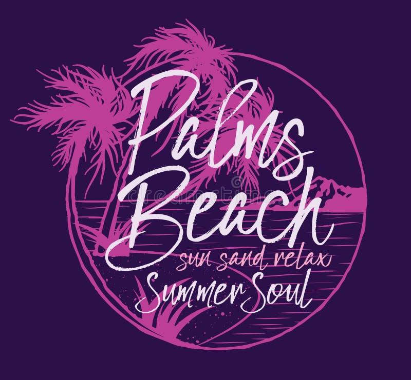 Душа лета Palm Beach тропическая бесплатная иллюстрация