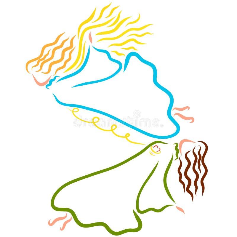 Душа покидая тело, соединяющся от цепи и сердца иллюстрация штока
