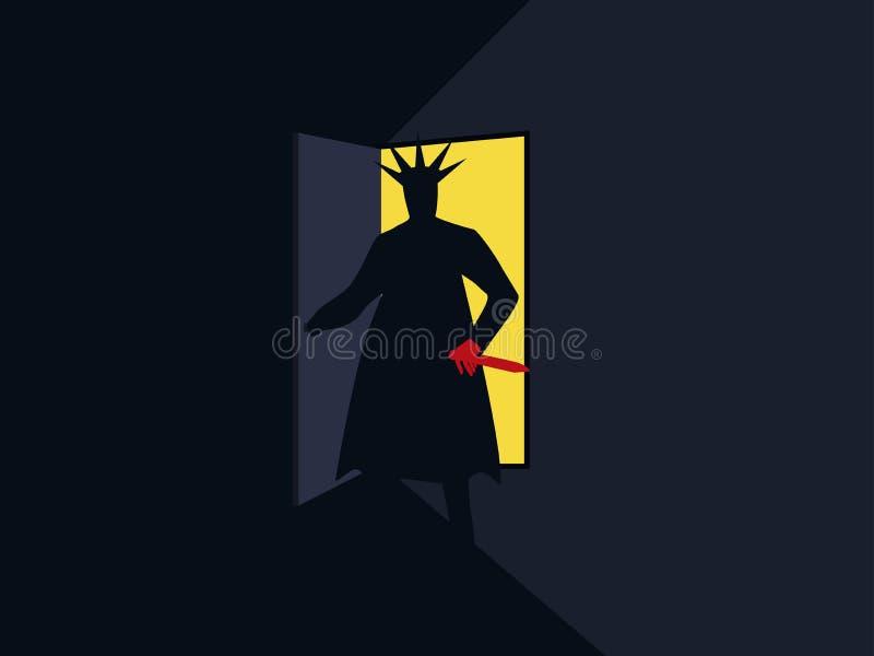 Душегуб с ножом за дверью, светом от открыть двери кошмар halloween Плакат вооруженного человека ретро вектор иллюстрация штока