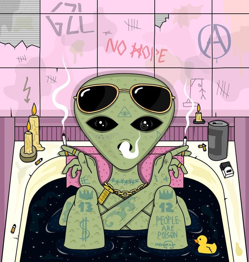 Дым чужеземца, холодок в ванне Психоделическая иллюстрация вектора бесплатная иллюстрация